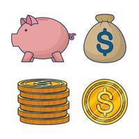 jeu d'icônes argent et finances