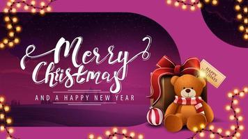 carte postale avec guirlande et cadeau avec ours en peluche