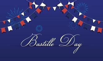 bannière de célébration du jour de la bastille avec guirlande
