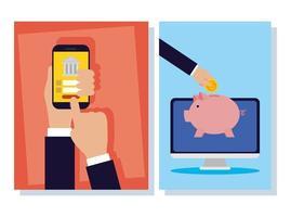 bannière de technologie bancaire en ligne sertie d'appareils électroniques vecteur