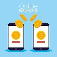 technologie bancaire en ligne avec smartphones de bureau