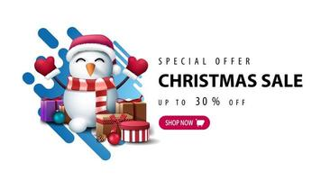bannière avec bonhomme de neige en chapeau de père Noël avec des cadeaux