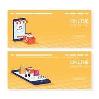 ensemble de bannière de magasinage en ligne et de commerce électronique