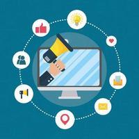 bannière de marketing numérique avec appareils électroniques vecteur