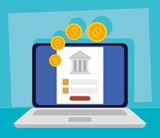 technologie bancaire en ligne avec ordinateur portable