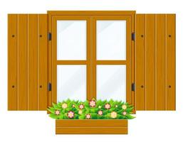 fenêtre en bois ouverte avec volets vecteur