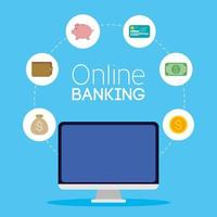 technologie bancaire en ligne avec ordinateur de bureau vecteur