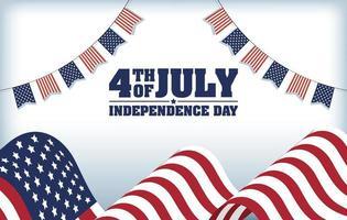 bannière de célébration de la fête de l'indépendance des États-Unis avec drapeau