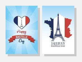 ensemble de cartes de fête de la bastille