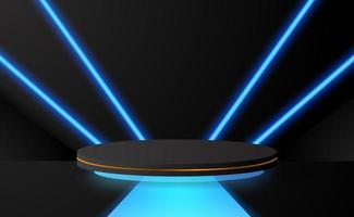 Étape de piédestal de podium de cylindre 3d avec la lueur bleue