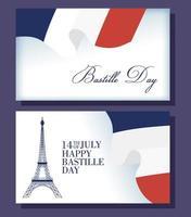 carte de fête de la bastille sertie d'icônes françaises
