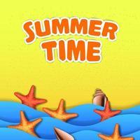 bonjour heure d'été vacances voyage plage océan sable vecteur