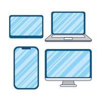 jeu d'icônes d'appareils électroniques