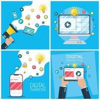 bannière de marketing numérique sertie d'appareils électroniques vecteur
