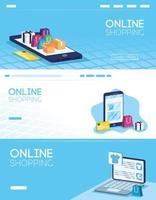 ensemble de bannière de magasinage en ligne et de commerce électronique vecteur