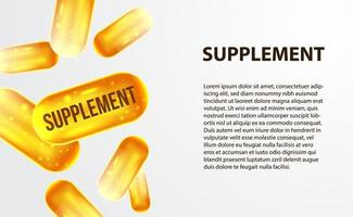 Capsule de supplément 3d jaune d'or pour l'industrie de la santé vecteur