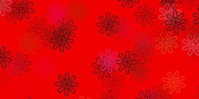 motif de griffonnage rouge avec des fleurs.