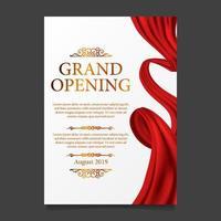 bannière d'affiche de ruban de soie rouge cérémonie d'ouverture vecteur