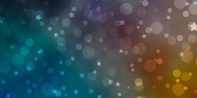 fond bleu, jaune avec des cercles, des étoiles. vecteur