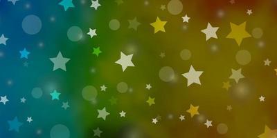 bleu clair, texture jaune avec des cercles, des étoiles.