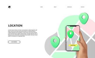 cartes concept d'application mobile de navigation