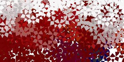 mise en page rouge avec des lignes, des triangles.