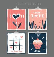 Collection de cartes de Valentine vecteur