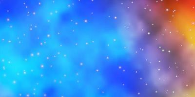 fond bleu clair, jaune avec des étoiles colorées.