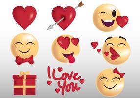 Valentine Emoji et autocollant vecteur