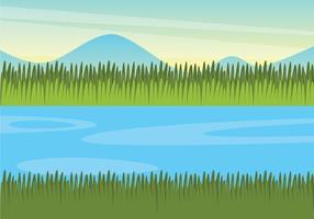 Illustration de paysage de marais vecteur