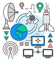 Icônes de l'industrie spatiale vecteur