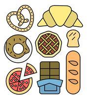 Icônes de boulangerie linéaire
