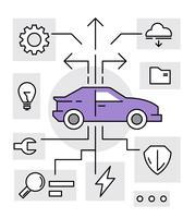 Icônes de technologie de voiture vecteur