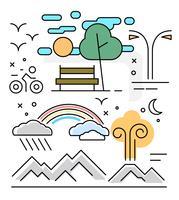 Illustrations linéaires de paysage vecteur