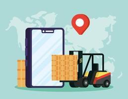 composition du service de livraison en ligne avec chariot élévateur via smartphone vecteur