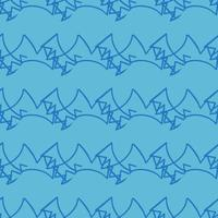 motif de lignes de gribouillis bleu dessiné à la main vecteur
