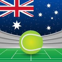 Drapeau de l'Australie sur fond de stade pendant l'illustration de match de tennis vecteur