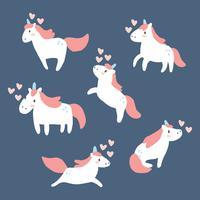 Ensemble de licornes en amour vecteur