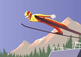 Jeux olympiques d'hiver de saut à ski vecteur