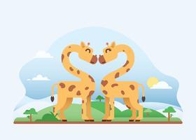 Girafe mignon en amour