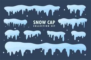 collection de casquettes de neige. neige blanche qui tombe en hiver