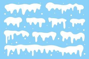 collection de casquettes de neige. neige blanche qui tombe en hiver vecteur