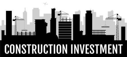 bannière silhouette noire investissement construction vecteur