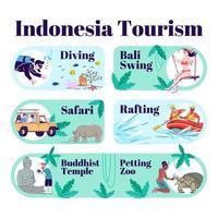 modèle infographique de tourisme indonésie. vecteur