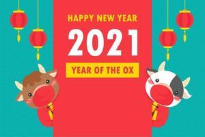 vaches du nouvel an chinois avec bannière de voeux vecteur