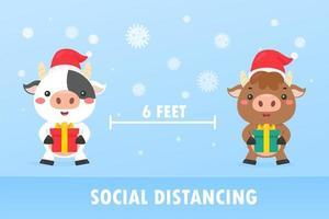 les vaches de Noël font de la distanciation sociale vecteur