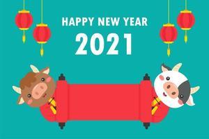 vaches du nouvel an chinois tenant une bannière rouge vecteur
