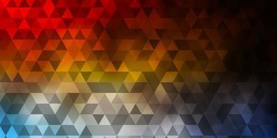 fond bleu clair, jaune avec un style polygonal.