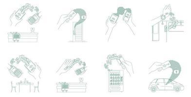 Jeu de monnaie électronique et de cartes-clés vecteur