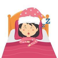 fille endormie et ronflant dans le lit vecteur